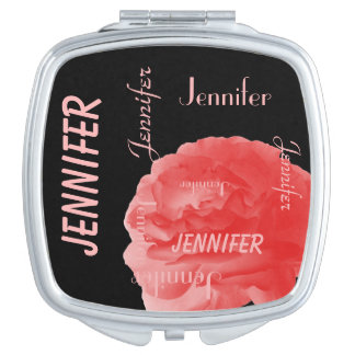 Personalized, Name Repeats, Chic Coral Pink Rose Vanity Mirrors