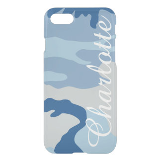 Personalized Name Retro Blue Camouflage Pattern iPhone 7 Case