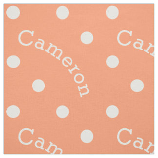 Personalized Name Retro Polka Dot Coral Peach Fabric