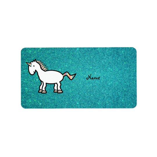 Personalized name retro unicorn turquoise glitter