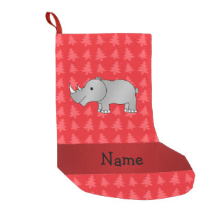 Personalized name rhino red christmas trees small christmas stocking