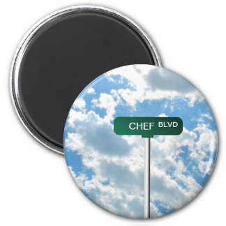 Personalized Name Road Street Sign on Blue Sky Magnet