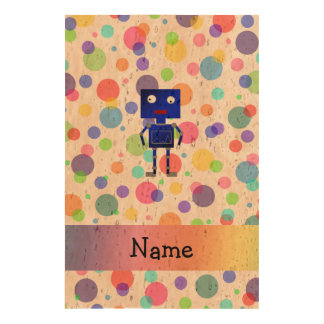 Personalized name robot rainbow polka dots cork fabric