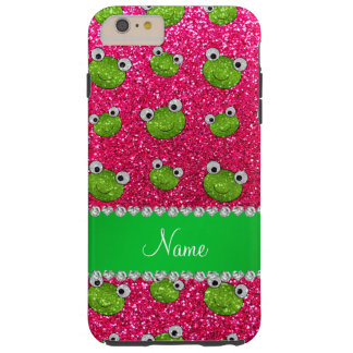 Personalized name rose pink glitter frogs tough iPhone 6 plus case