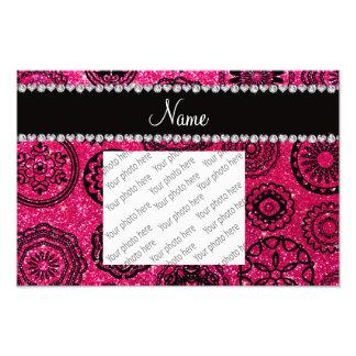 Personalized name rose pink glitter mandalas art photo
