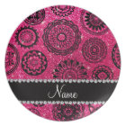 Personalized name rose pink glitter mandalas plate