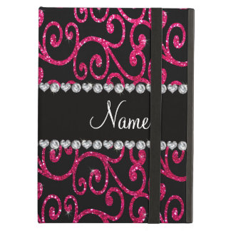 Personalized name rose pink glitter swirls iPad air case
