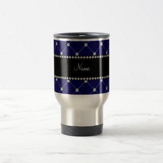 Personalized name Royal blue diamonds Travel Mug