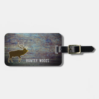 Personalized Name   Rustic Wood Elk for Him Bag Tag