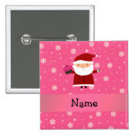 Personalized name santa cupcake pink snowflakes 2 inch square button