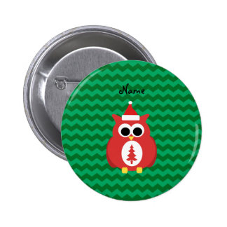 Personalized name santa owl green chevrons pinback buttons