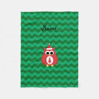 Personalized name santa owl green chevrons fleece blanket
