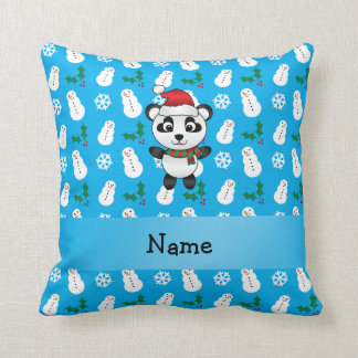 Personalized name santa panda bear blue snowman throw pillow