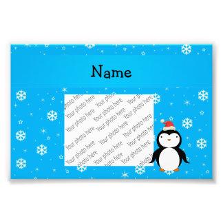 Personalized name santa penguin blue snowflakes photo