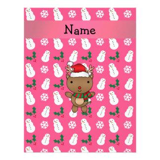Personalized name santa reindeer pink snowman letterhead