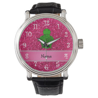 Personalized name sea turtle pink glitter watch