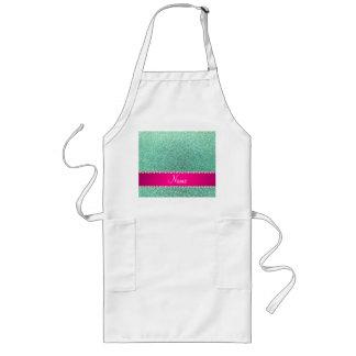 Personalized name seafoam green glitter pink strip aprons