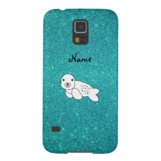 Personalized name seal pup turquoise glitter galaxy s5 cover