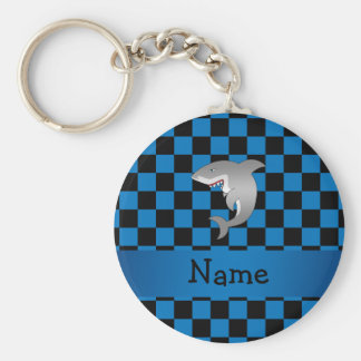 Personalized name shark basic round button keychain