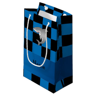 Personalized name shark blue black checkers small gift bag