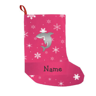 Personalized name shark pink snowflakes small christmas stocking