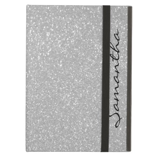 Personalized name silver glitter iPad air case