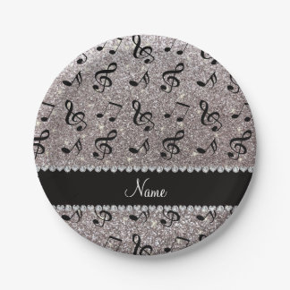 Personalized name silver glitter music notes paper plate