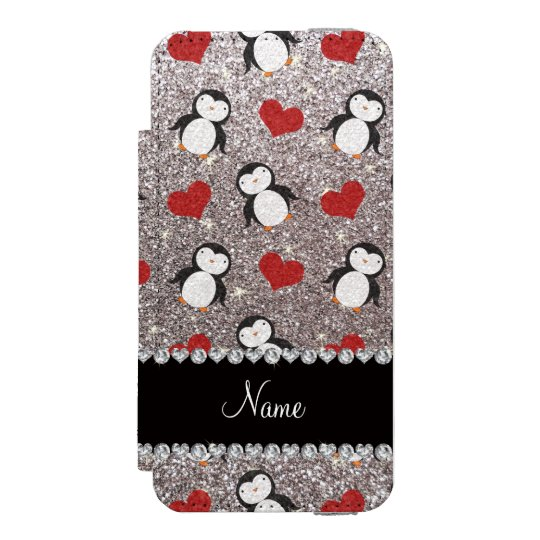 Personalized name silver glitter penguins hearts incipio watson™ iPhone 5 wallet case