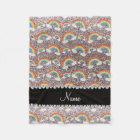 Personalized name silver glitter rainbows fleece blanket