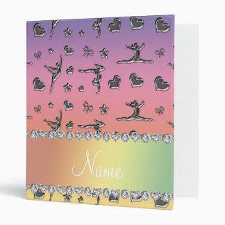 Personalized name silver pastel rainbow gymnastics binders