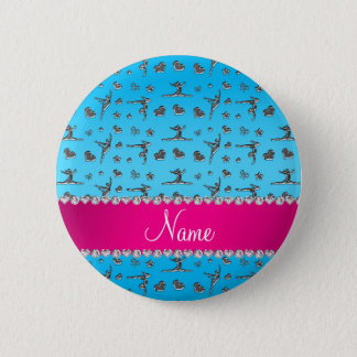 Personalized name silver sky blue gymnastics 2 inch round button