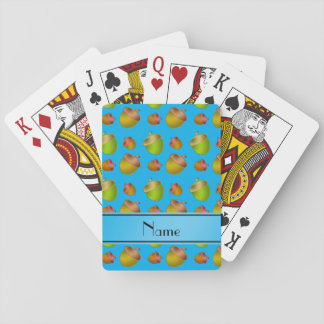 Personalized name sky blue acorns poker deck