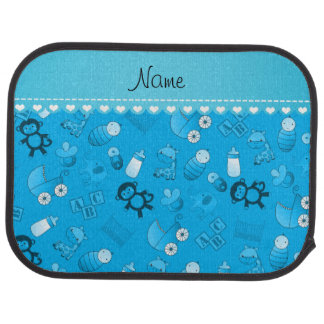 Personalized name sky blue baby animals car floor carpet