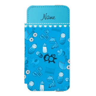 Personalized name sky blue baby animals incipio watson™ iPhone 5 wallet case