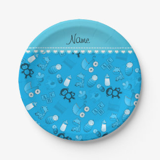 Personalized name sky blue baby animals paper plate