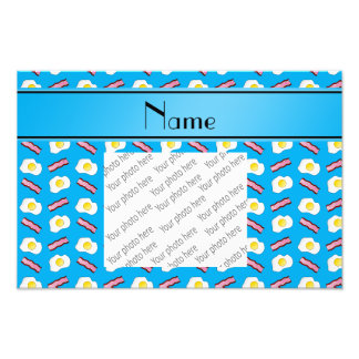 Personalized name sky blue bacon eggs photo art