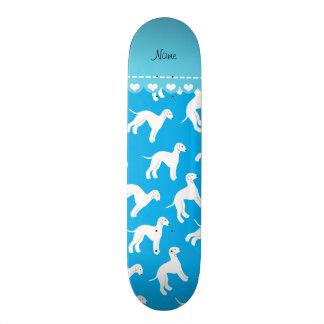 Personalized name sky blue bedlington terrier dogs custom skate board
