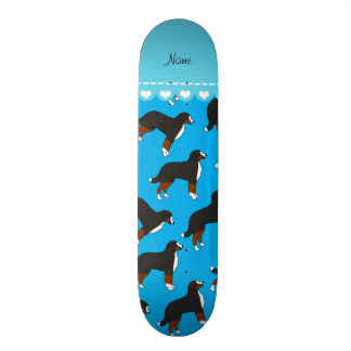 Personalized name sky blue Bernese Mountain dogs Skate Boards