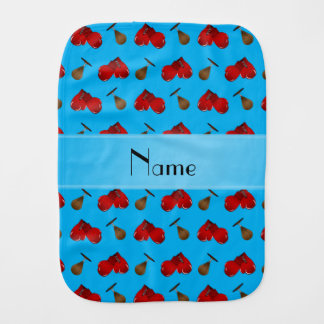 Personalized name sky blue boxing pattern burp cloth