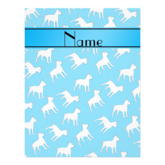 Personalized name sky blue bull terrier dogs flyer design