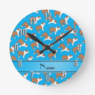 Personalized name sky blue Bulldog Clock