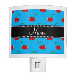 Personalized name sky blue cherry pattern night lites