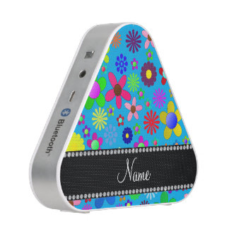 Personalized name sky blue colorful retro flowers bluetooth speaker
