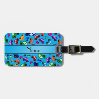 Personalized name sky blue cute car pattern luggage tag