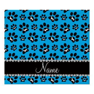 Personalized name sky blue dachshunds dog paws poster