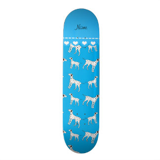 Personalized name sky blue dalmatian dogs skate deck
