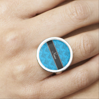 Personalized name sky blue damask ring