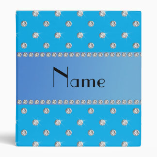 Personalized name sky blue diamonds 3 ring binders