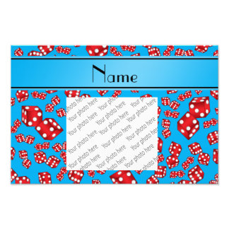 Personalized name sky blue dice pattern photo print
