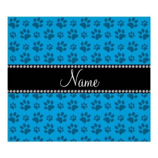 Personalized name sky blue dog paw prints poster